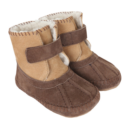 Robeez Galway Cozy Boots Brown Soft Soles