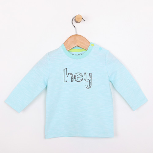 Turquoise long sleeve cotton t-shirt for babies or infants.