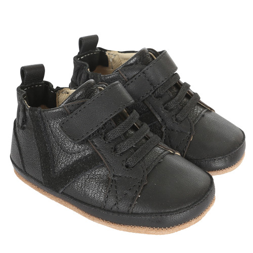 Black leather infant shoes for boys ages 0 - 24 months with hook and loop (velcro like) strap closures.