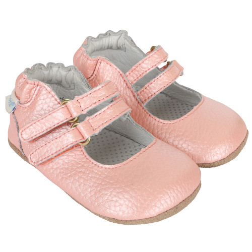 Pink metallic double strapped infant girl shoe sizes 2, 3, 4, 5, 6.