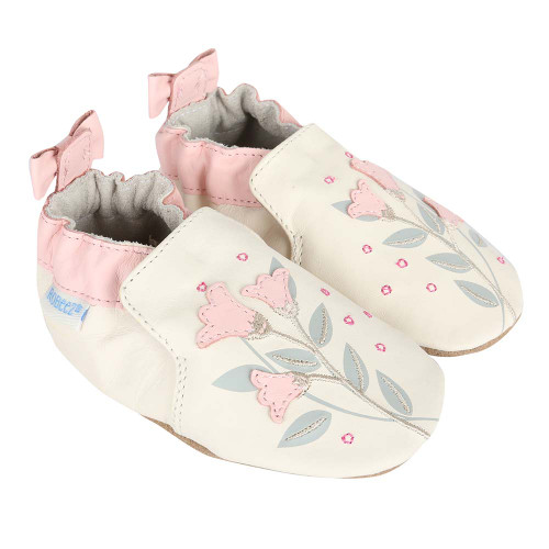 acdbed59c84a Girls  Baby Shoes in cream leather decorated with pink flowers. These soft  soles are