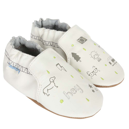 Baby shoes for baby, infant and toddler boys featuring random icons.  Soft Soles.