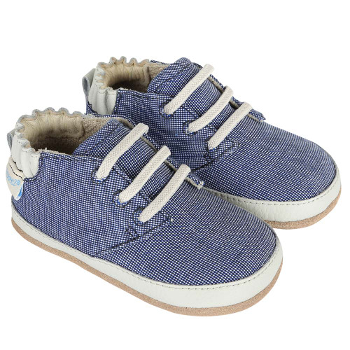 Navy canvas baby shoes with faux laces.   Soft soles with rubber outer sole.  For baby, infants and toddlers.