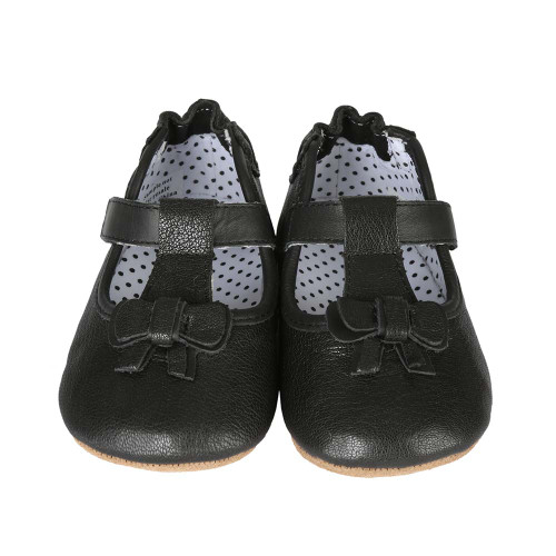def512461796 Side view · Black leather baby shoes for girls with shoe like fit and soft  soles.
