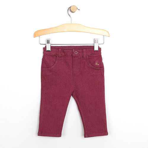 Baby girl pants in maroon cotton.