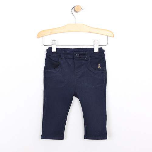 Jeans for baby boys and girls.  Super soft navy cotton.