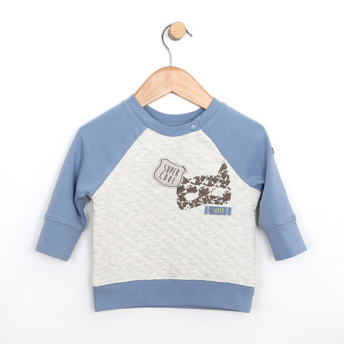 Baby boy top in quilted cotton with super hero icons.