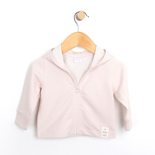 Girls' baby jacket in pink french terry.