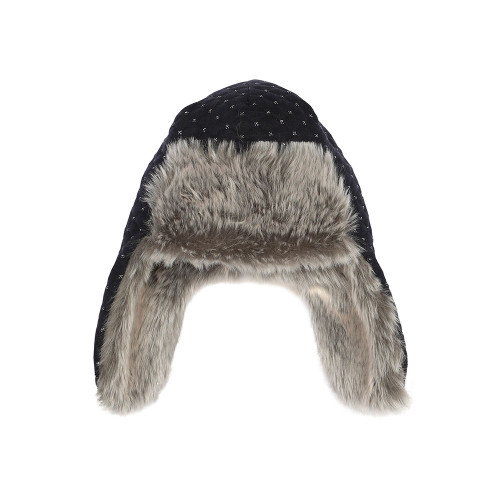Faux fur lined quilted baby hat.  Bomber hat with ear flaps.