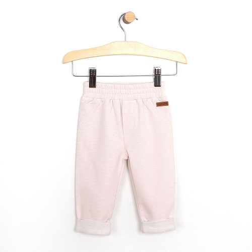 Baby pants in pink french terry cotton pants for girls ages 0 - 24 months