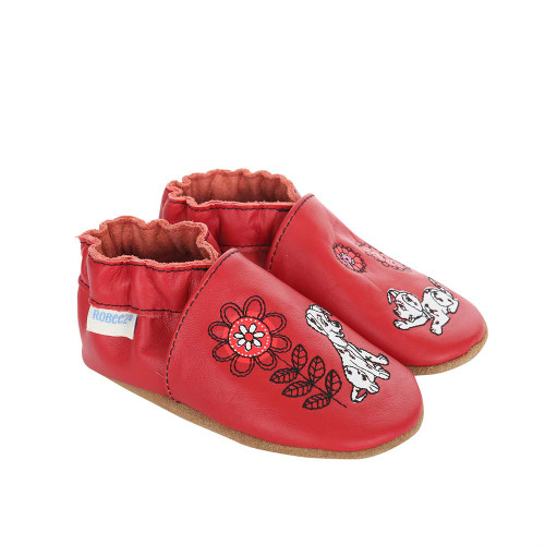 Side view of Disney Garden Fun Baby Shoes, a red leather crib shoe featuring Disney's 101 Dalmatians.