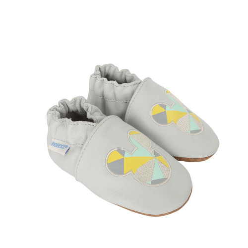 Side view of Disney Believe in Magic Baby Shoes, a grey leather crib shoe featuring Disney's Mickey Mouse.