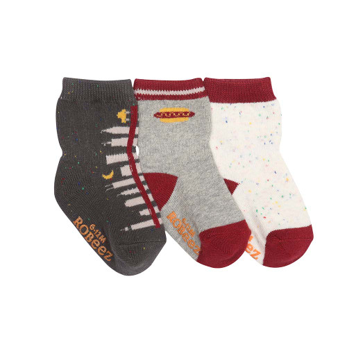 Baby socks in grey, white and grey.  3 pairs of cotton socks for  boys and girls.