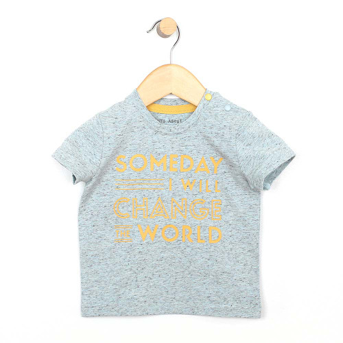 """Heather blue cotton t-shirt for baby and infant boys with a yellow slogan """"Someday I will change the world.  Front view."""