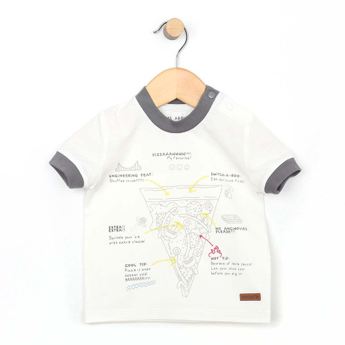 White cotton t-shirt for baby and toddler boys featuring a pizza graphic.  Front view.