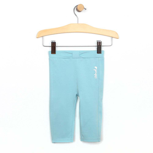 Turquoise cotton legging/pant for baby and toddler girls. Back View.