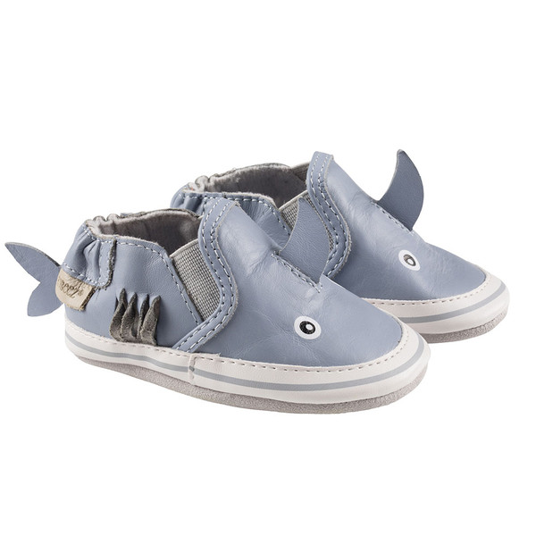 Carozoo Shark Black Baby Boy Soft Sole Leather Shoes