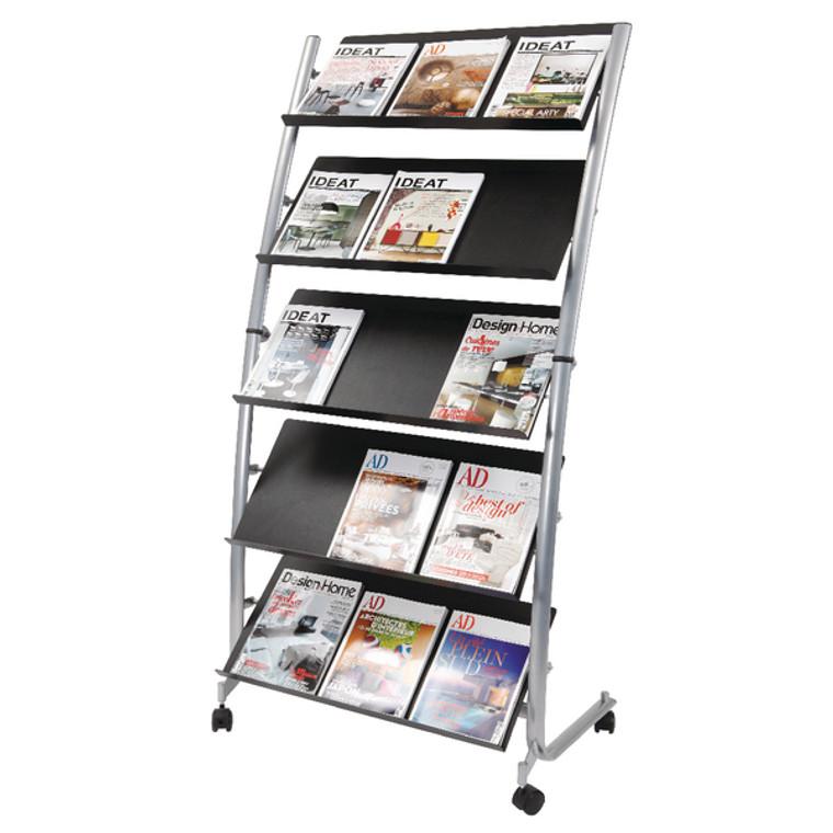 ALB00930 Alba 5 Shelf Mobile Literature Display Stand 3 x A4 DD5GM