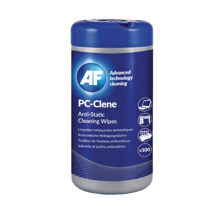AFI50002 AF PC-Clene Anti-Static Cleaning Wipes Tub Pack 100 PCC100