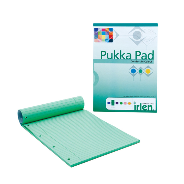 PP00926 6 x Pukka Pad A4 Refill Pad Green Heabound with ruled lines IRLEN50