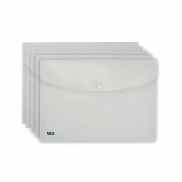 BX24731 5 x Elba Snap Wallet A4 Clear Durable polypropylene wallets 100080924