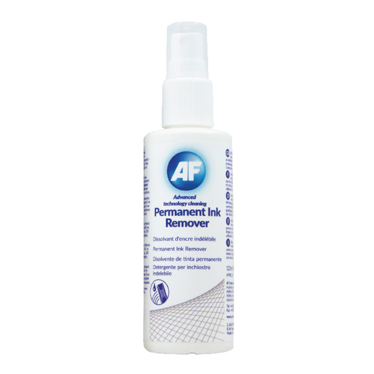 AFI50187 AF Permanent Ink Remover 125ml Pump Spray Suitable whiteboards CD Dvds APIR125