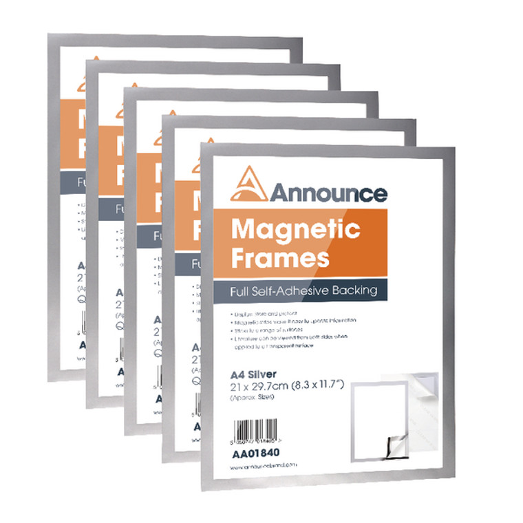 AA01841 Announce Magnetic Frame A4 Silver Pack 5 AA01841