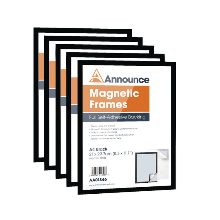 AA01847 Announce Magnetic Frame A4 Black Pack 5 AA01847