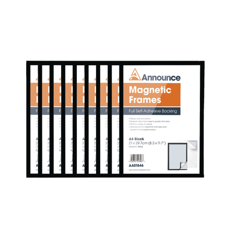 AA01848 Announce Magnetic Frame A4 Black Pack 10 AA01848