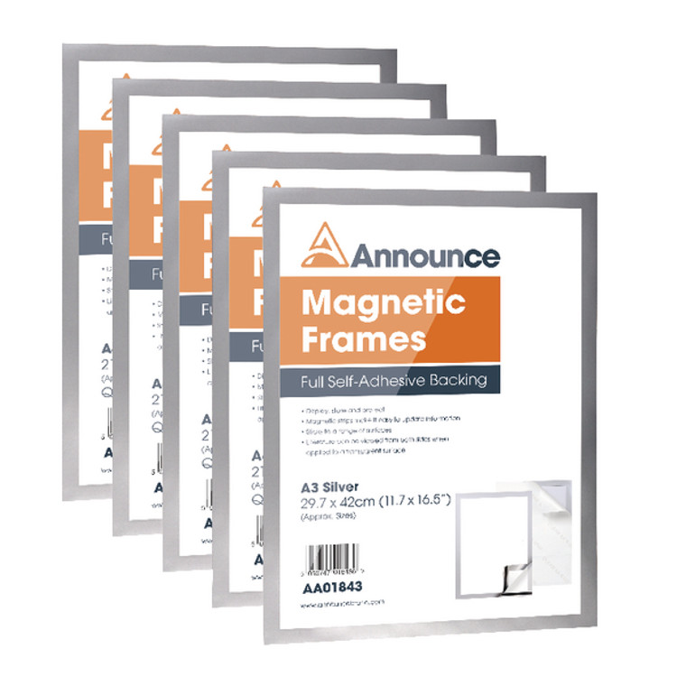 AA01844 Announce Magnetic Frame A3 Silver Pack 5 AA01844