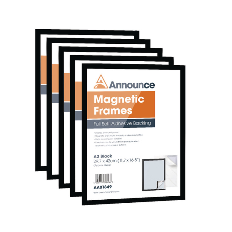 AA01850 Announce Magnetic Frame A3 Black Pack 5 AA01850