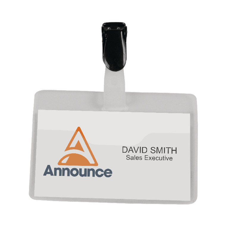 PV00922 Announce Security Name Badge 60x90mm Pack 25 PV00922