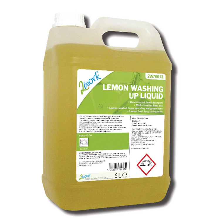 2W76013 2Work Washing Up Liquid Lemon 5 Litre 401