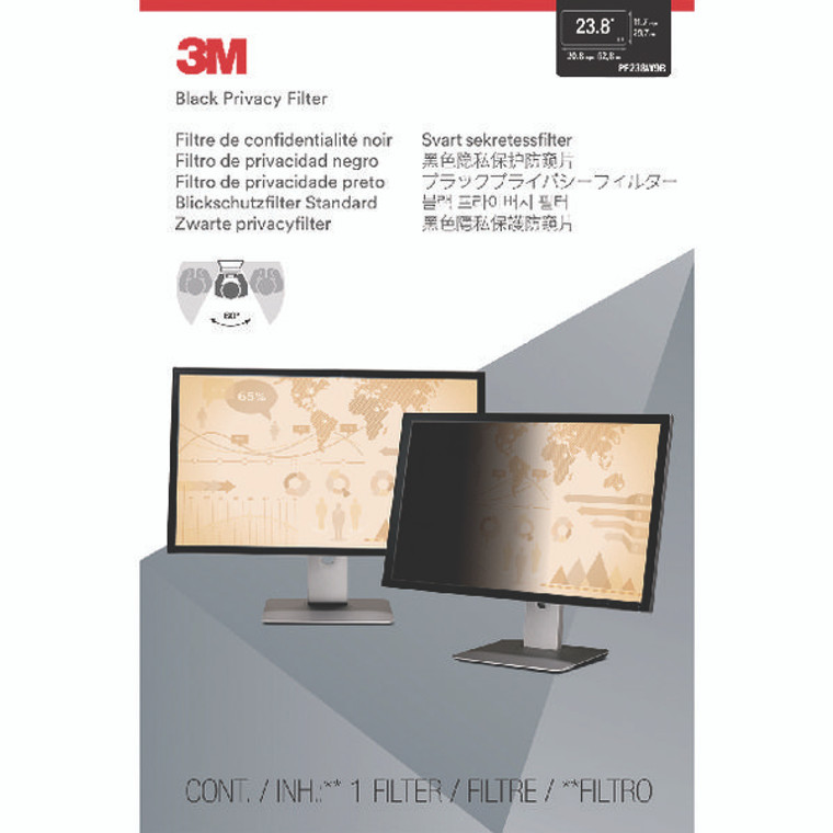 3M83083 3M Privacy Filter Widescreen Desktop LCD Monitor 23 8in PF238W9B