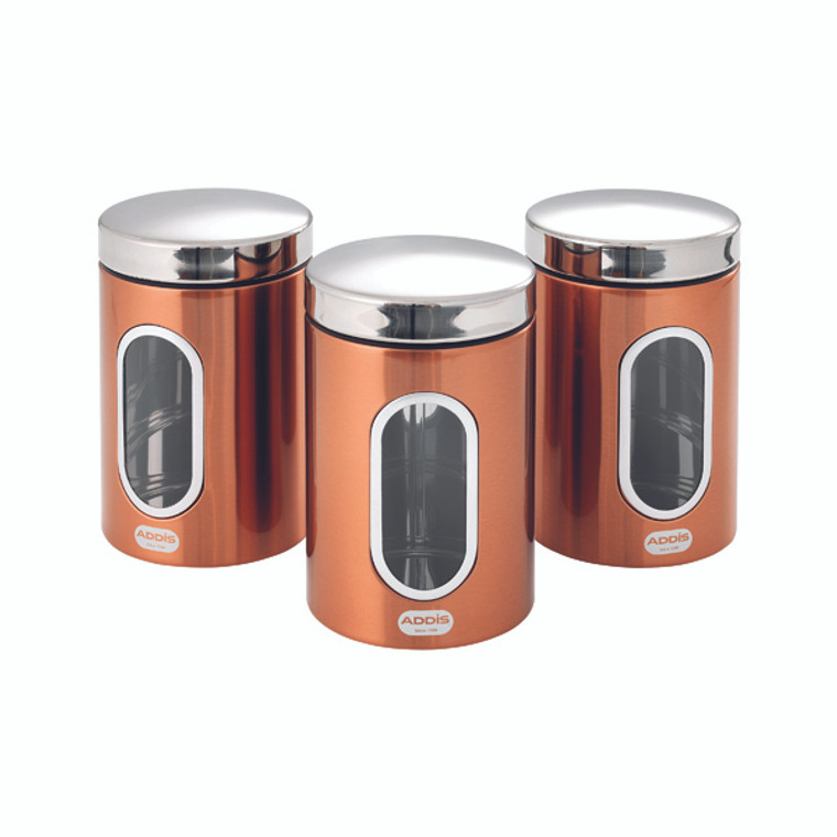 AG15190 Addis Copper Finish Canisters 155 x 343 x 185mm Pack 3 515717