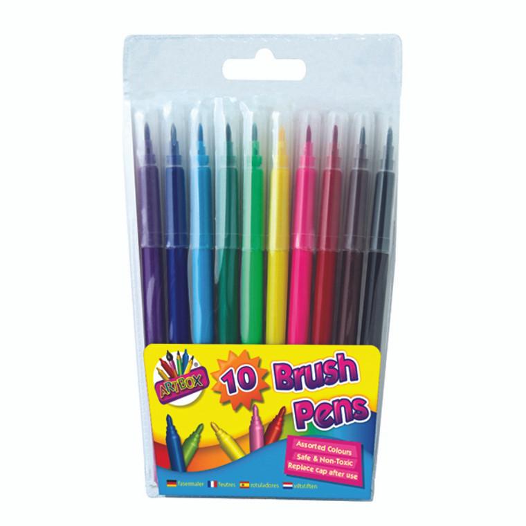 TA01093 Artbox 10 Quality Brush Fibre Pens Pack 12 1093