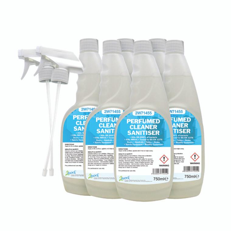 2W07254 2Work Perfumed Spray Wipe Sanitiser 750ml Pack 6 211SVW