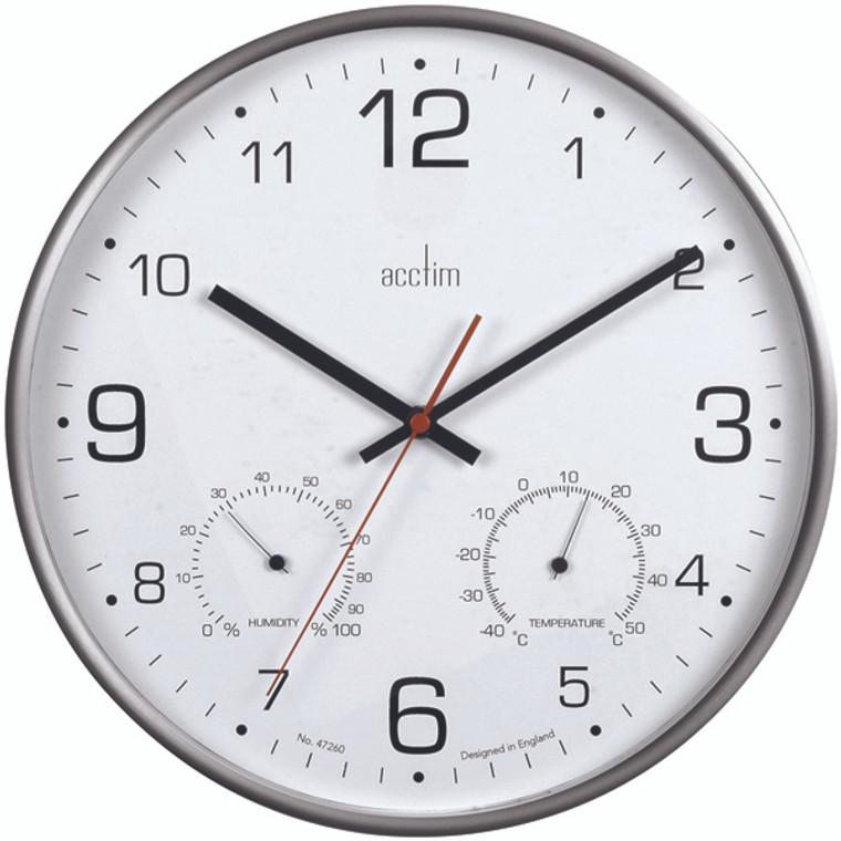 ANG29147 Acctim Komfort 30 5cm Metal Thermo Hygro Wall Clock 29147