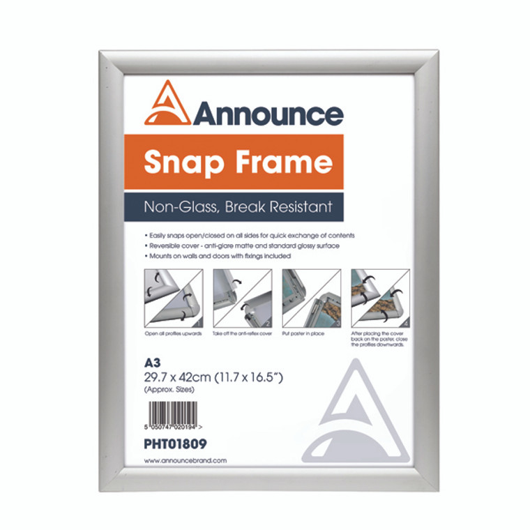 PHT01809 Announce A3 Snap Frame 25mm anodised aluminium frame Wall fixings included PHT01809