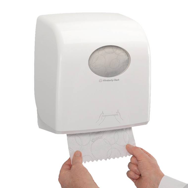 KC05078 Aquarius Large Roll Rolled Hand Towel Dispenser White 7375