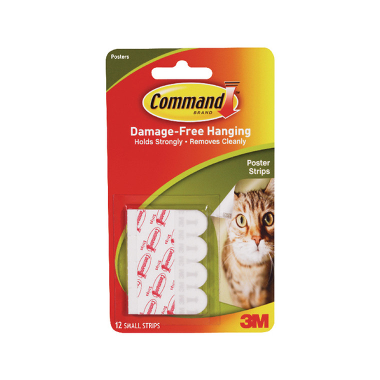 3M16598 3M Command Adhesive Poster Strips Small Pack 12 17024