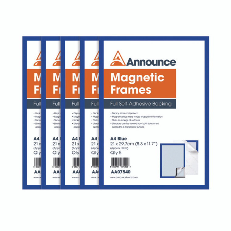 AA07540 Announce Magnetic Frames A4 Blue Pack 5 AA07540