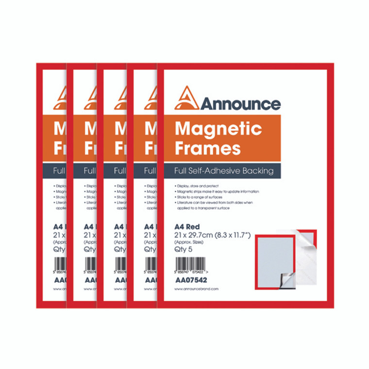 AA07542 Announce Magnetic Frames A4 Red Pack 5 AA07542
