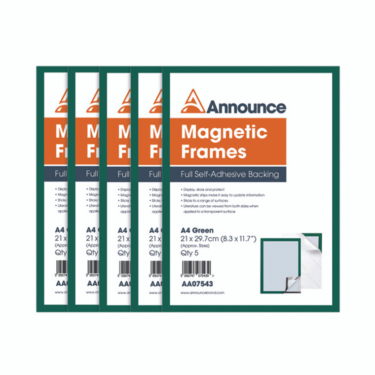 AA07543 Announce Magnetic Frames A4 Green Pack 5 AA07543