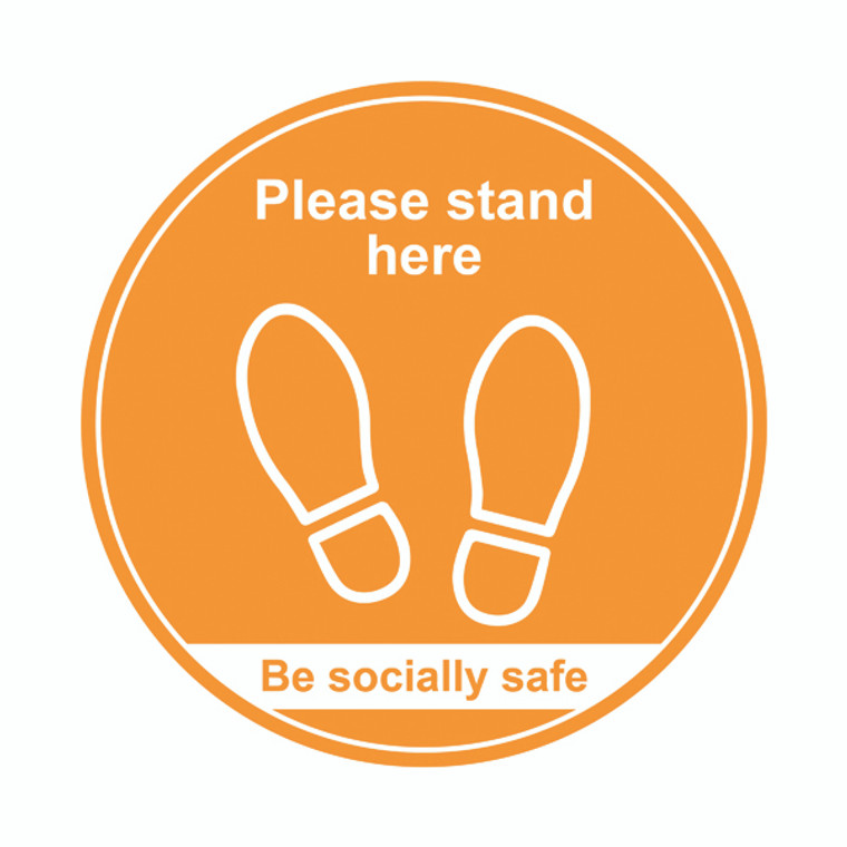 SPT60894 400mm Floor Graphic Please Stand Here Amber STP008