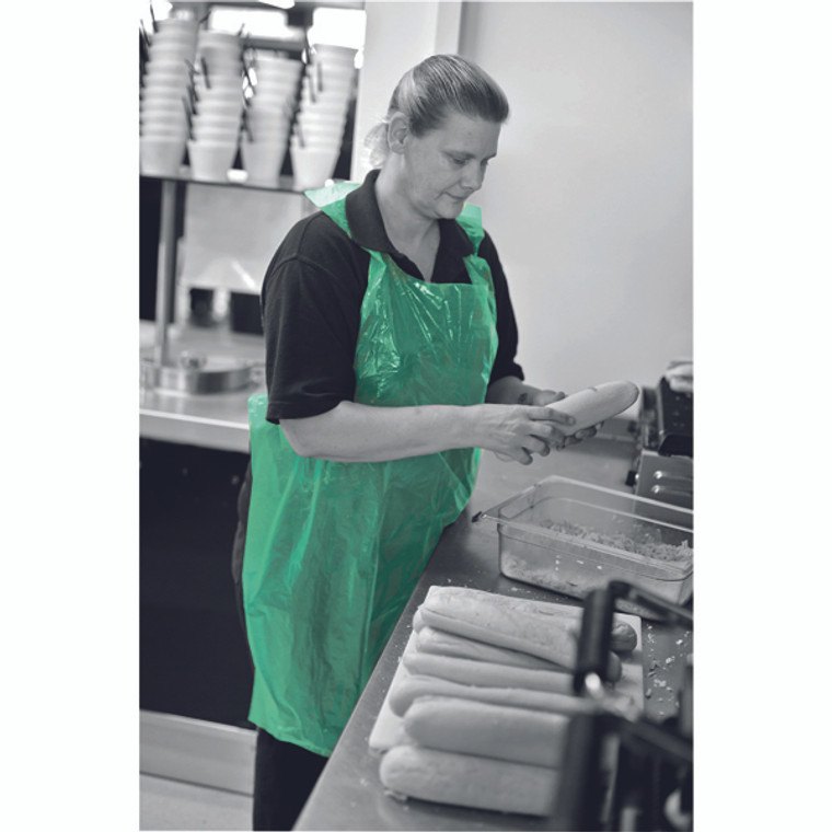 HEA02688 Apron on a Roll LDPE Polythene Green Pack 1000 A2G R