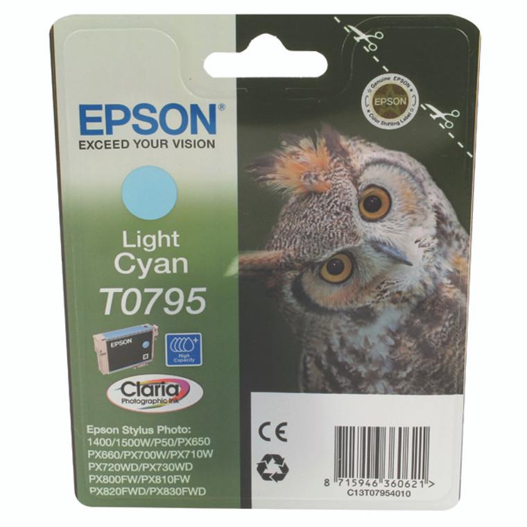 T07954010 Epson C13T07954010 T0795 Light Cyan Ink Cartridge Owl High Capacity