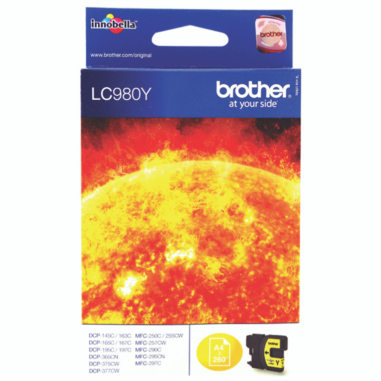 LC980Y Brother LC-980 Y Yellow Ink Cartridge
