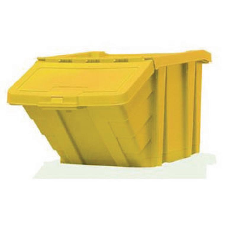 SBY17194 VFM Yellow Heavy Duty Storage Bin With Lid Dimensions W400 x D635 x H345mm 359521