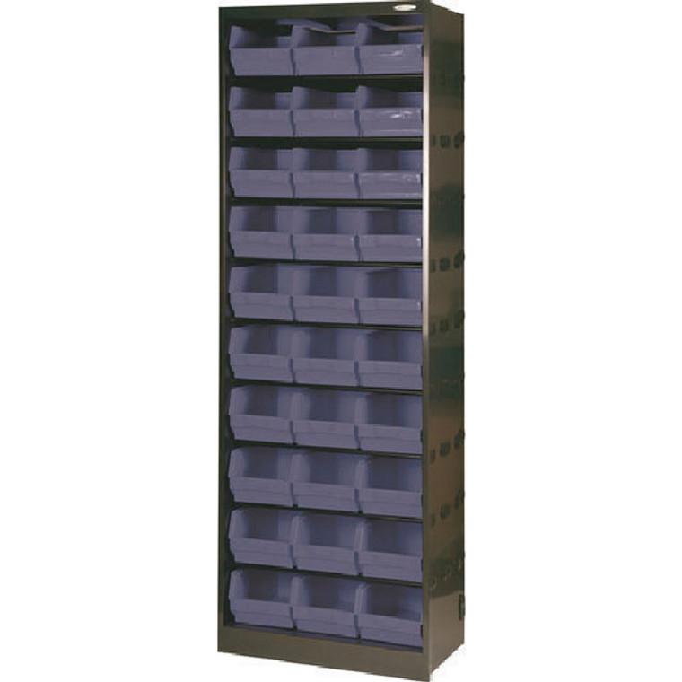 SBY19127 Metal Bin Cupboard With 30 Polypropylene Bins Dark Grey Black 371834